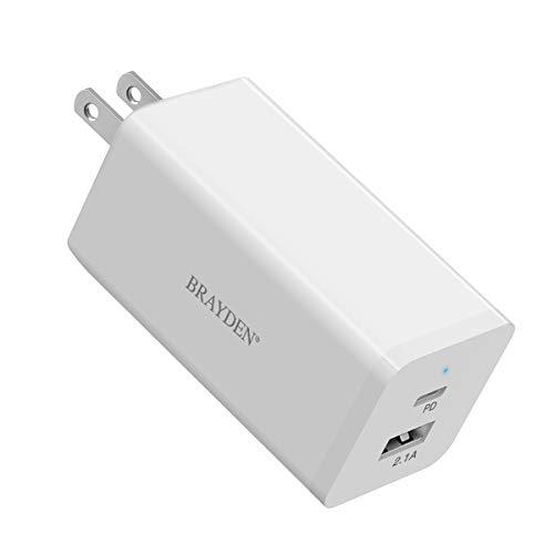 BRAYDEN 66W PD 急速充電器(GaN技術PD 3.0+USB-Aダブルソケット)、超コンパクトサイズ、折り畳んでプラグ。Type-C充電アダプター、ノートパソコン、MacBook、タブレット、スマートフォンなどの設備に適用します - 白