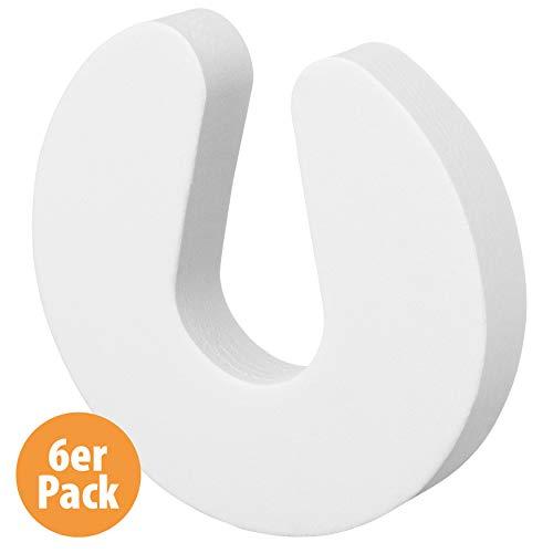 LeBone Premium Klemmschutz für Türen - 6er Pack weiß - 23mm stark - Extra-Breite Türstopper - Effektiver Türschutz Kinder und Baby