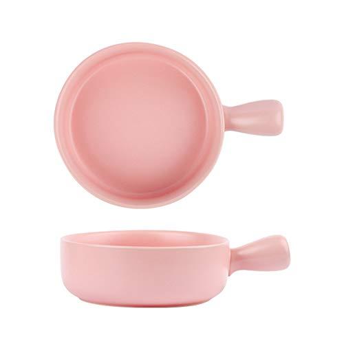 QYLJZB 2 platos para hornear, cuencos de cerámica redondos, bandeja para hornear, mesa para horno con asa, placa para hornear, horno y utensilios de cocina (rosa)