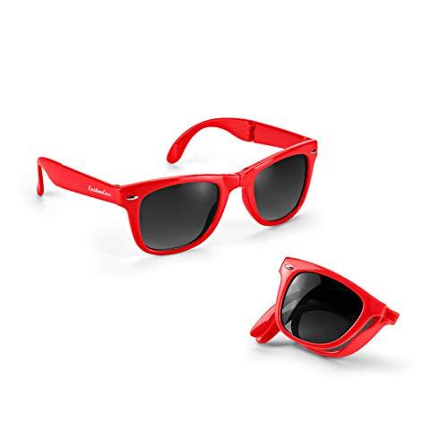 200 stück hellblaue Sonnenbrillen Liva faltbar mit Druck Werbung Logo bedrucken