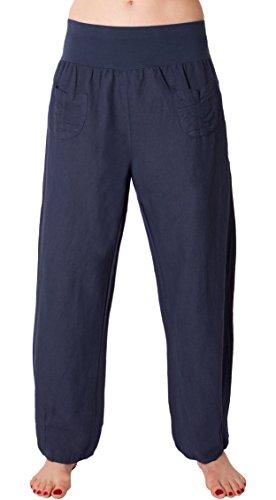 FASHION YOU WANT Damen Leinenhose Größe 36/38 bis Größe 50/52 aus 100% Leinen - leichte Sommerhose Tunnelbund mit Gummizug und 2 aufgesetzten Taschen vorne - weiter Schnitt (42/44, blau)