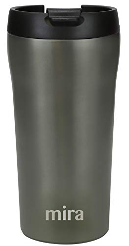 MIRA 12 oz Stainless Steel Insulated Travel Mug for Coffee & Tea - Vacuum Insulated Car Tumbler Cup with Spill Proof Twist On Flip Lid - Thermos Keeps Drinks Steaming Hot or Ice Cold - Gray Satin