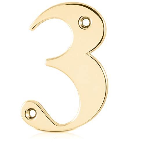 Lettere e numeri per porta in ottone lucidato., Polished Brass, 75 mm