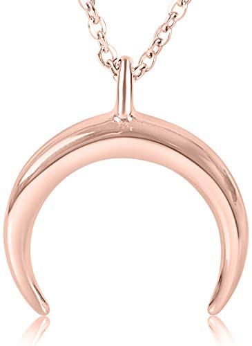 Ansane Mond Kette in Silber, Rosegold oder Gold   Hochwertige Geschenkbox   Moon Necklace mit 18 Karat Echtgold überzogen   45cm + 5cm (extra)