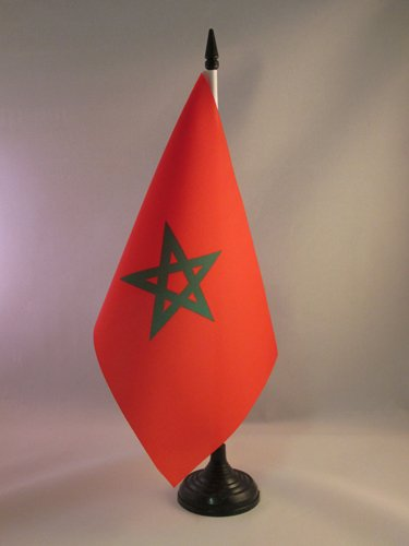 AZ FLAG Drapeau de Table Maroc 21x14cm - Petit Drapeaux DE Bureau marocain 14 x 21 cm