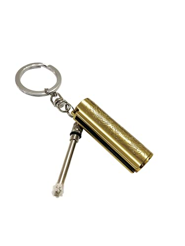 ESM Metall Streichholz Benzin Feuerzeug, Feuerstarter mit Schlüsselanhänger, Outdoor Survival Nachfüllbar Feueranzünder Feuerstahl (Versand ohne Benzin) (Gold)