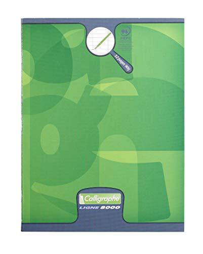 Calligraphe 108704C - Un cahier piqué (gamme 8000 de Clairefontaine) 32 pages 17x22 cm 90g séyès agrandi 4mm, couverture carte offset, couleur aléatoire