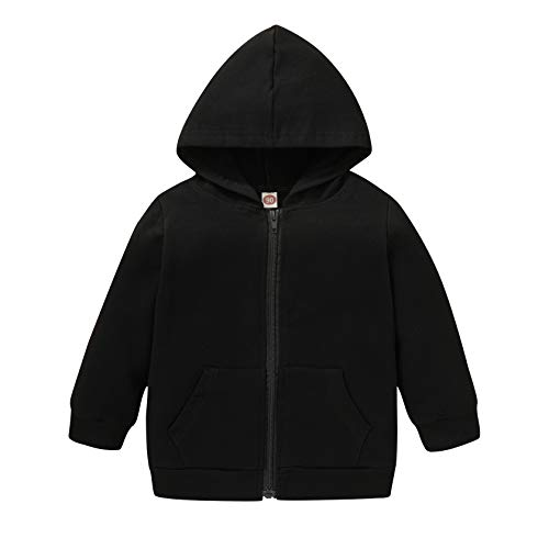 Toddler Boys Girls Hoodies Sweatshirt Casual Long Sleeve Pullover Sweater Hooded Jacket Tops Fall Winter Outfit Clothes (Black, 4-5 Years)