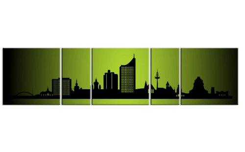 TOP Bild auf Leinwand CITY PANORAMA Leipzig NEON Grün 5 TEILE DIGITAL Arts AP500025 Bilder fertig bespannt auf Keilrahmen. Kunstwerk als Wandbild auf Rahmen. GRÖßE WÄHLEN! GÜNSTIGER ALS Ölbild Gemälde Poster Plakat mit Bilderrahmen! MADE IN GERMANY