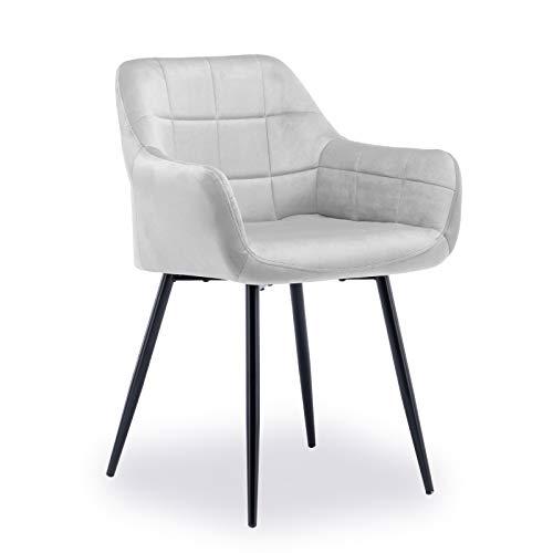 ADIBY Sitzfläche aus Samt mit Armlehne Rückenlehne Metallbeine Esszimmerstühle Küchenstuhl skandinavisches Retro-Design Polsterstuhl Sessel für Küche Arbeitszimmer Wohnzimmer Schlafzimmer Hellgrau