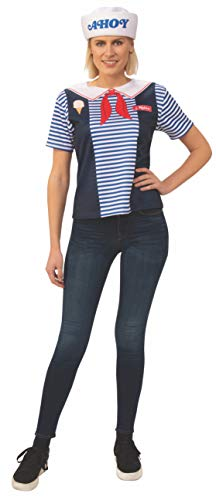Rubie's Women's Stranger Things 3 Robin's Scoops Ahoy Uniform Costume Top, As Shown, Large