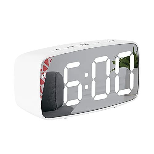 Aiong Reloj Despertador, Pantalla de Espejo LED Reloj Despertador Reloj Digital Creativo Control de Voz Tiempo de repetición Fecha Temperatura