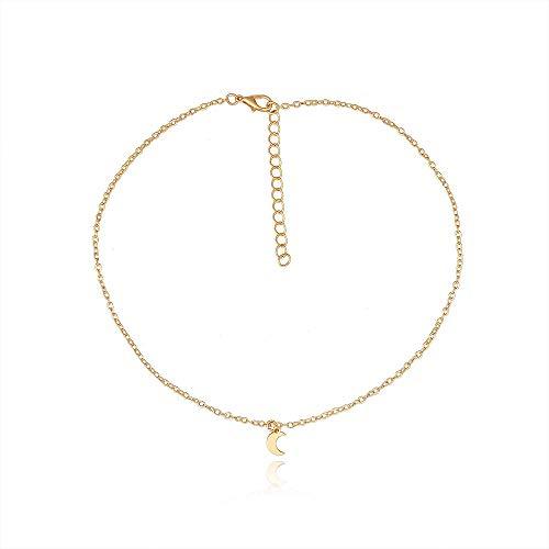 Collar Cadena simple Aleación Media luna Colgante Collar Moda femenina Collar simple corto