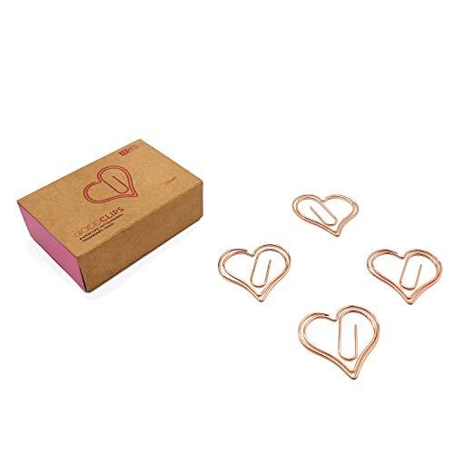 DESIGNMANUFAKTUR BERLIN GOLDCLIPS niedliche süße Deko Clips Büroklammern Heftklammern Lesezeichen Paperclip rose vergoldet in schöner Verpackung, Motiv Herz