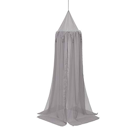 weichuang Mosquito net New Universal 3 Colors Hanging Round Baby Bed Dome Fantasy Champion Net Curtain Play Tent Bed Canopy Mosquito Bedding Home Decor mosquito net (Color : Grey)