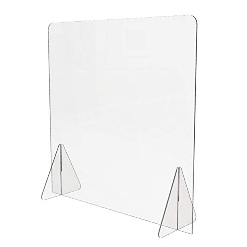 Sneeze Guard for Counter (24'W x 24'H), Freestanding Plexiglass Shield, Portable Clear Acrylic Plastic Barrier for Countertops, Desk, Reception, Protection from Germs [Made in USA]