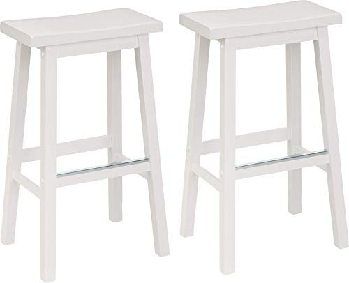 AmazonBasics Classic Solid Wood Saddle-Seat Kitchen Counter Stool with Foot Plate 29 Inch, White, Set of 2