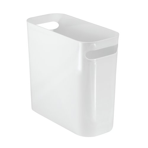 iDesign Mülleimer mit Griffen, kleiner Papierkorb aus Kunststoff, moderner Abfalleimer für Büro, Küche oder Badezimmer, weiß