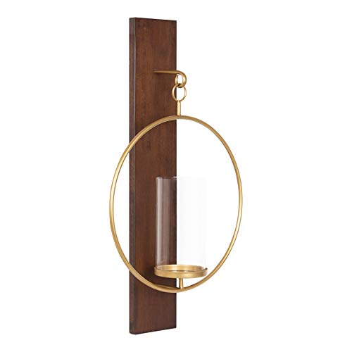 Kate and Laurel Maxfield Mid-Century Wall Sconce, 13 x 24, Walnut Brown, Decorative Hanging Wall Sconce for Lights, Flameless Candles, and Small Plants