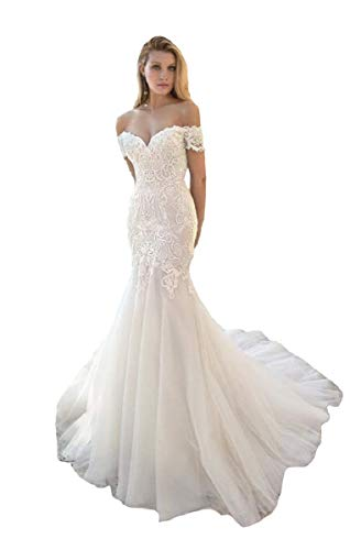 Mermaid Lace Wedding Dress for Womens Off Shoulder Illusion Back Sheath Off Shoulder Bridal Gowns for Bride Ivory 22 Plus