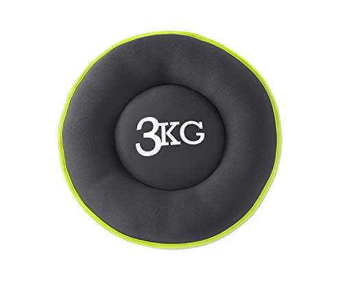 L.A. Sports Soft Gewichtsscheibe Tone Disk Neopren-Hantel 3kg Gewicht mit Übungsposter