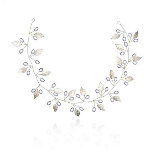 Peineta de perlas simuladas para el pelo para la corona de cristal de la novia floral elegante para el pelo adorno de novia