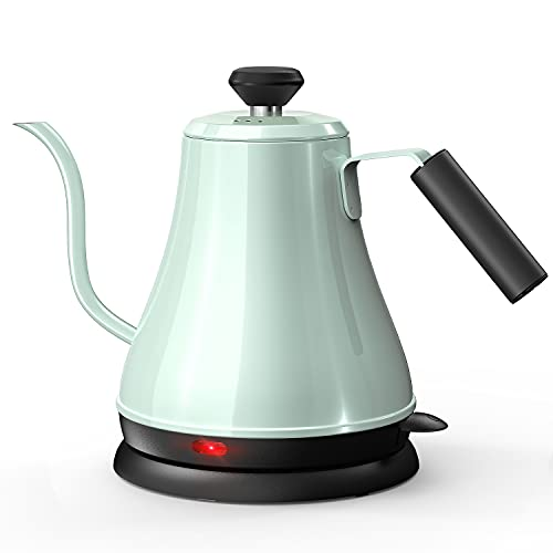 Electric Gooseneck Kettle Stainless Steel BPA-Free, Electric Pour Over Coffee Kettle Pot Portable Cordless Teapot, Tea Kettle with Auto Shut-Off Protection, 1000 Watt, 0.8L