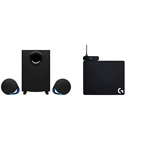 Logitech G560 LIGHTSYNC PC Gaming Speakers - N/A - USB - N/A - EMEA + G Powerplay Alfombrilla de Carga Inalámbrica, Compatible con Ratón Gaming Inalámbrico G PRO/G903/G703/G502 Lightspeed, Negro