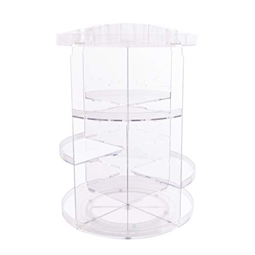 TECKE Rotating Makeup Organizer 360 Degree Multi-Function Clear Acrylic Cosmetic Storage Stand Rack