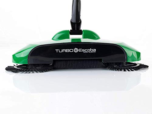Turbo Smart Sweeper - Escoba giratoria de triple cepillo con movimiento giratorio a 360°, inalámbrica, sin corriente y sin ruido. Escoba de mano