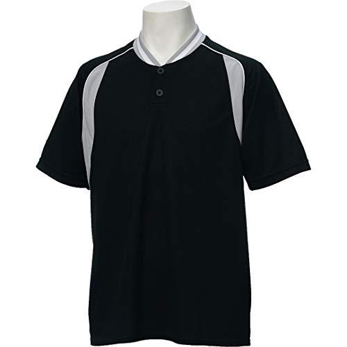 アシックス(asics) 野球 ベースボール シャツ 半袖 2ボタン BAD014 XOサイズ ブラック/シルバーグレー BAD014 ブラック/Sグレー XO