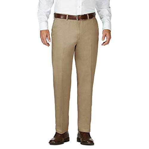Haggar Men's Work To Weekend Hidden Expandable Waist No Iron Plain Front Pant,British Khaki,42x30