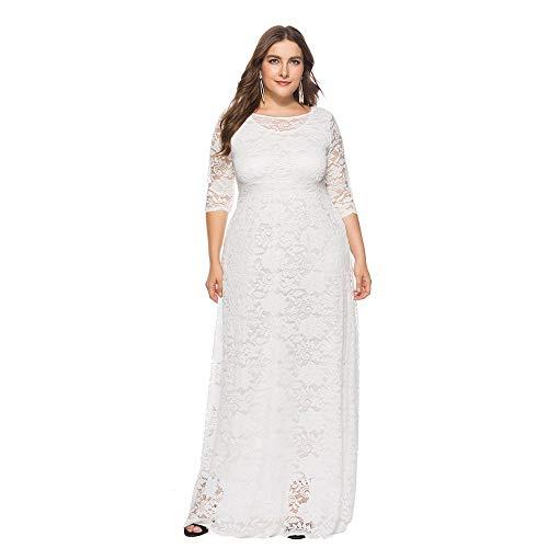 Dicomi Damen Elegant Übergröße Abendkleid Spitze Ballkleid Brautjungfernkleid lang Cocktail Festliche Kleider Rockabilly Kleider Weiß 2XL