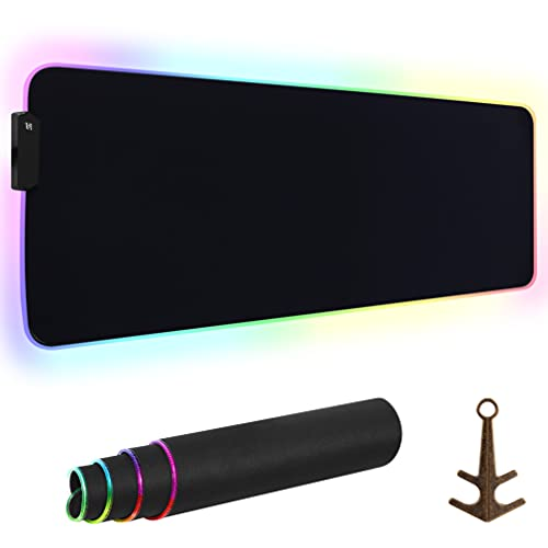 RGB Gaming Mouse Pad, Large Extended LED XL Black Mouse Pad to Hold Mouse and Keyboard as Amazing PC Gaming Mice Accessories, Great Gift for Gamers