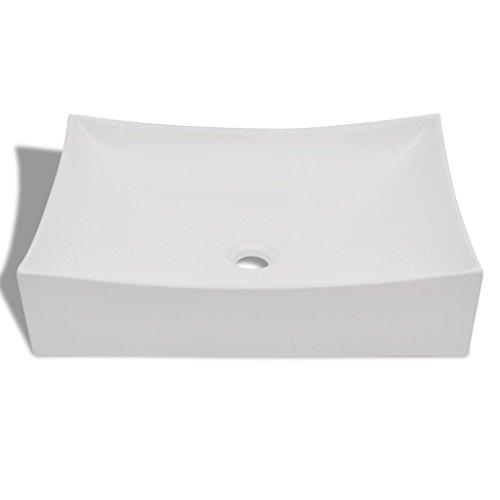 Festnight Vasque de Salle de Bains Céramique Rectangulaire 65,5 x 39 x 14 cm Blanc