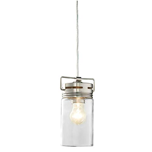 allen + roth Vallymede 4.41-in Brushed Nickel Barn Mini Clear Glass Jar Pendant