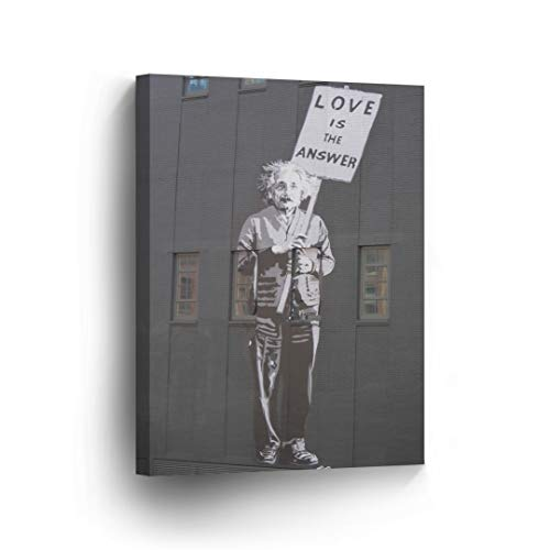 SmileArtDesign Banksy Canvas Print Love is The Answer Einstein Banksy Wall Art Home Decor Decorative Artwork Stretched Ready to Hang -%100 Made in The USA - 28x19