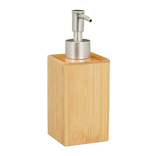 Relaxdays Seifenspender, nachfüllbar, Pumpspender, Bambus & Kunststoff, 200 ml, Flüssigseifenspender, Bad, natur/silber