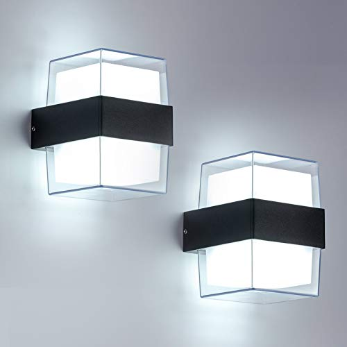 Yafido 2pcs 12W LED Aplique Pared Exterior 6000K Blanco Frío IP65 Waterproof...