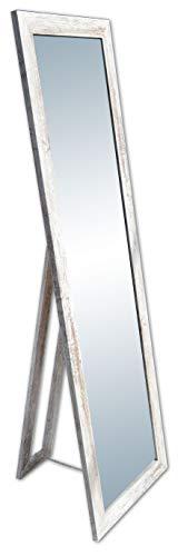 rahmengalerie24 Standspiegel Vintage groß Spiegel Ganzkoerperspiegel aus Holz mit Standfuss Ankleidespiegel stehend Stehspiegel 160 cm in 4 Farben Rechteckiger Hochspiegel mit Kunstglass