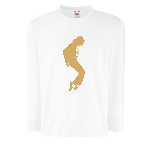 Camisetas de Manga Larga para Niño Me Encanta MJ - Ropa de Club de Fans, Ropa de Concierto (5-6 Years Blanco Oro)