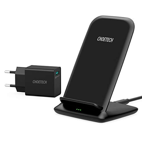 CHOETECH Cargador Inalámbrico Rápido, Wireless Charger con QC 3.0 Adaptador, 15W para LG Sony, 10 W para Samsung S20/S10/S9/Note10/Huawei, 7.5W para iPhone11/11Pro/SE/XS/XR/X/8/8 Plus-Negro