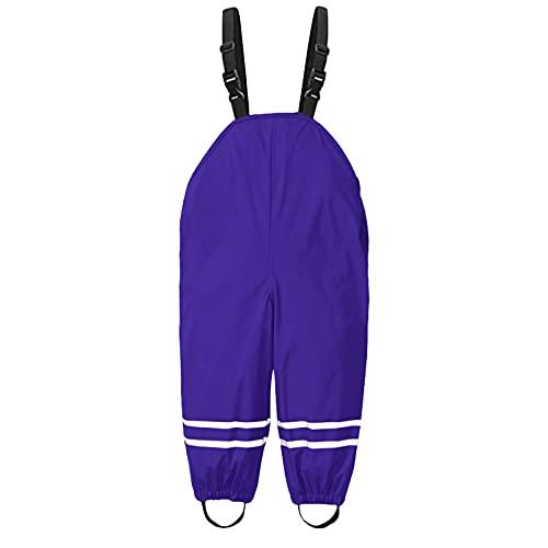 Beudylihy Pantalones con peto de lluvia unisex para niños, pantalones impermeables y cortavientos, transpirables, para niñas y niños morado 1-3 años