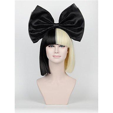 Gzhuang, Haarschleifenset, langer Pony, halb schwarz, halb blond Sia Styling, Party Perücken, luxuriöse schwarze Riesenschleife.