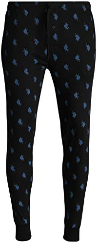 U.S. Polo Assn. Mens' Knit Jogger Lounge Pajama Pants with Allover Print, Black, Size X-Large'