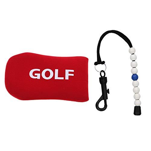 F Fityle Cuenta Golpes para Contador de Golf de Nailon con Bolas de Plástico + Cubierta Funda para Golf Putter Protector de Hierro