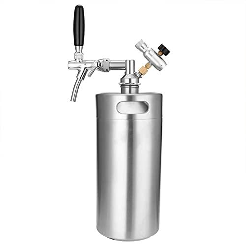 XZDM Mini Barril De Cerveza De 1 Galón, Sistema Dispensador De Cerveza Artesanal De Acero Inoxidable Mini Barril Dispensador De Barril Barril De Cerveza De Grifo Ajustable