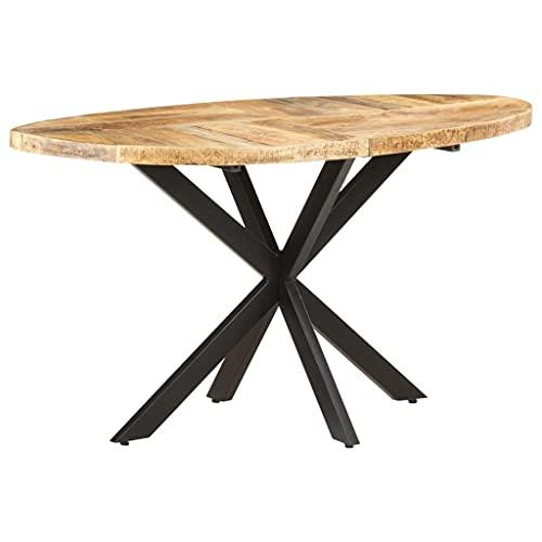 vidaXL Madera Maciza de Mango Mesa de Comedor Salón Sala de Estar Muebles Mobiliario Soporte Exterior Cocina Duradera Estable 140x80x75 cm