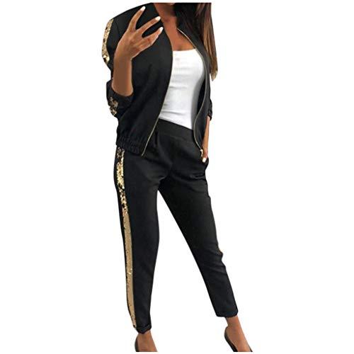 MEIbax Otoño Ocio Lentejuela Conjuntos de Deporte Mujer Cosiendo Abrigo + Pantalones Deportivos Medias Ropa Deportiva Señoras Fitness Mujer 2pcs Chándal Encapuchada (Negro, XL)