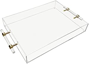 Clear Acrylic Tray with Clear Handles (16x12 inch). Ideal Gift and Perfect for Serving /displaying Decorative Items at Home Like Your bar, Coffee Table or Ottoman. Sturdy, Spill Proof & Non-Slip